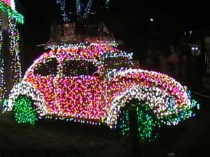 VW Bug With Christmas Lights
