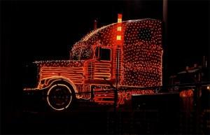 Semi with Christmas Lights